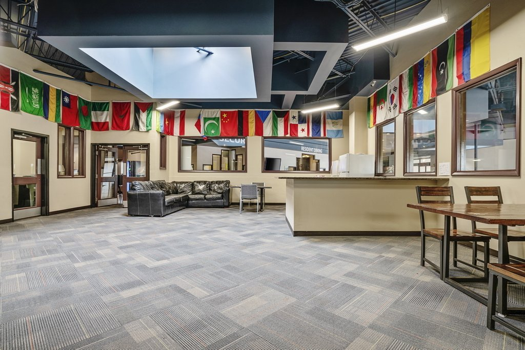 Central Plaza Student Housing International Room with country flags and seating