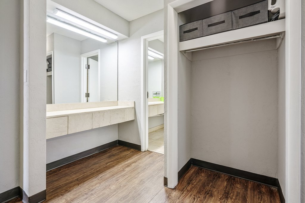 Central Plaza Student Housing Private Rooms Closet and bathroom Area